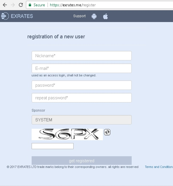 Exrates register form