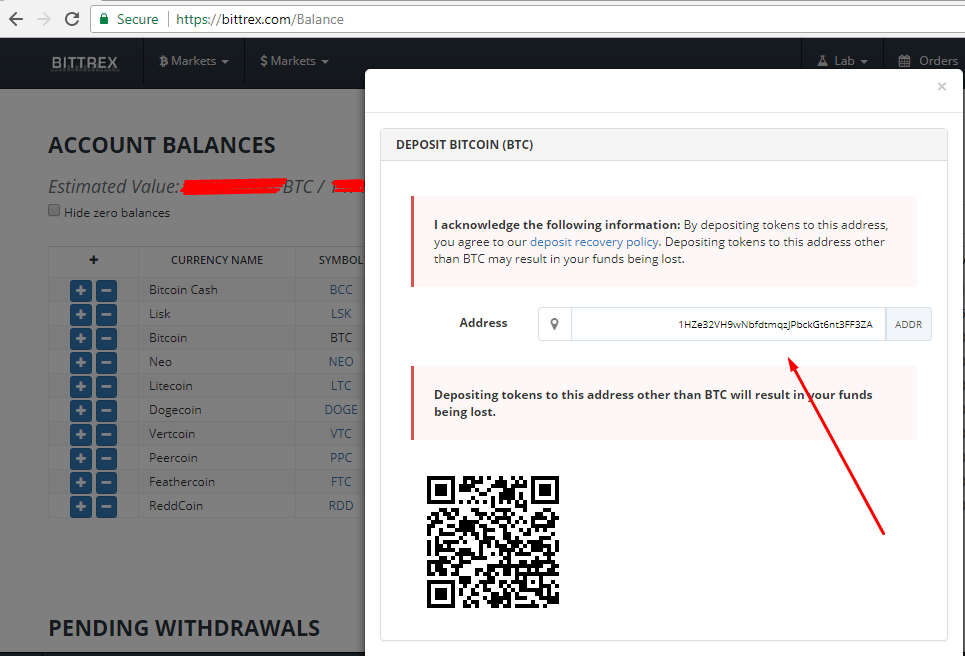 Bittrex balance deposit address