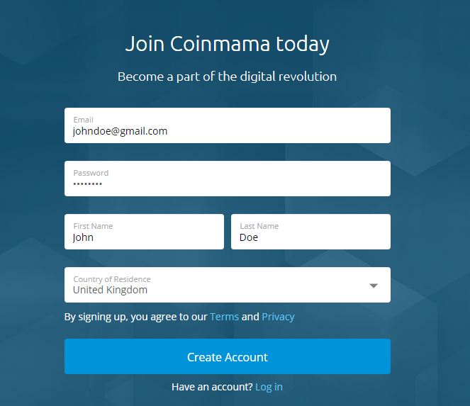 Register form on Coinmama