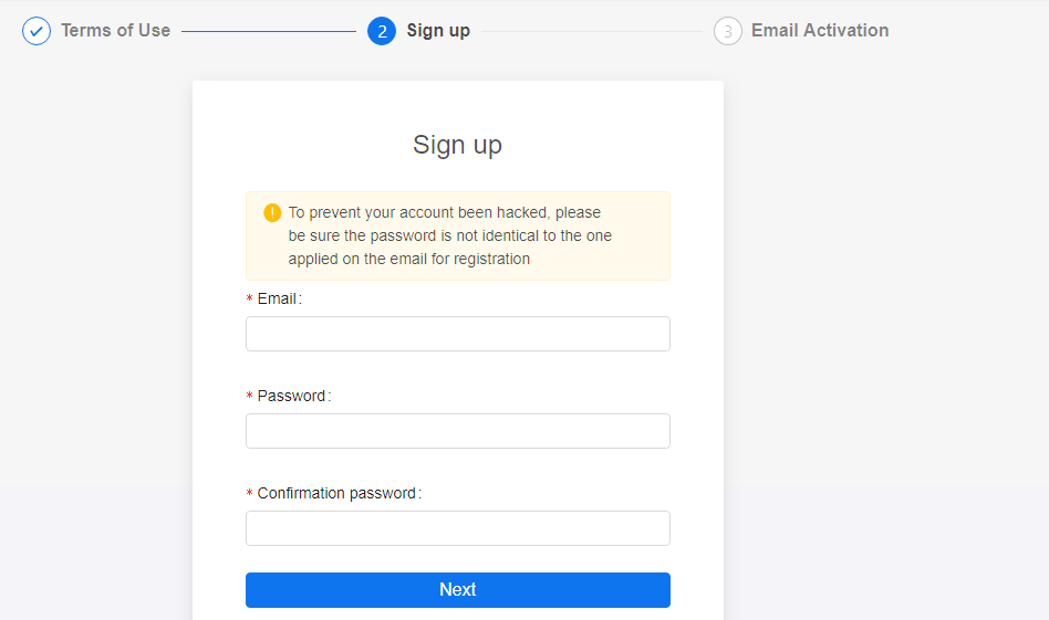 Sign up form on KuCoin