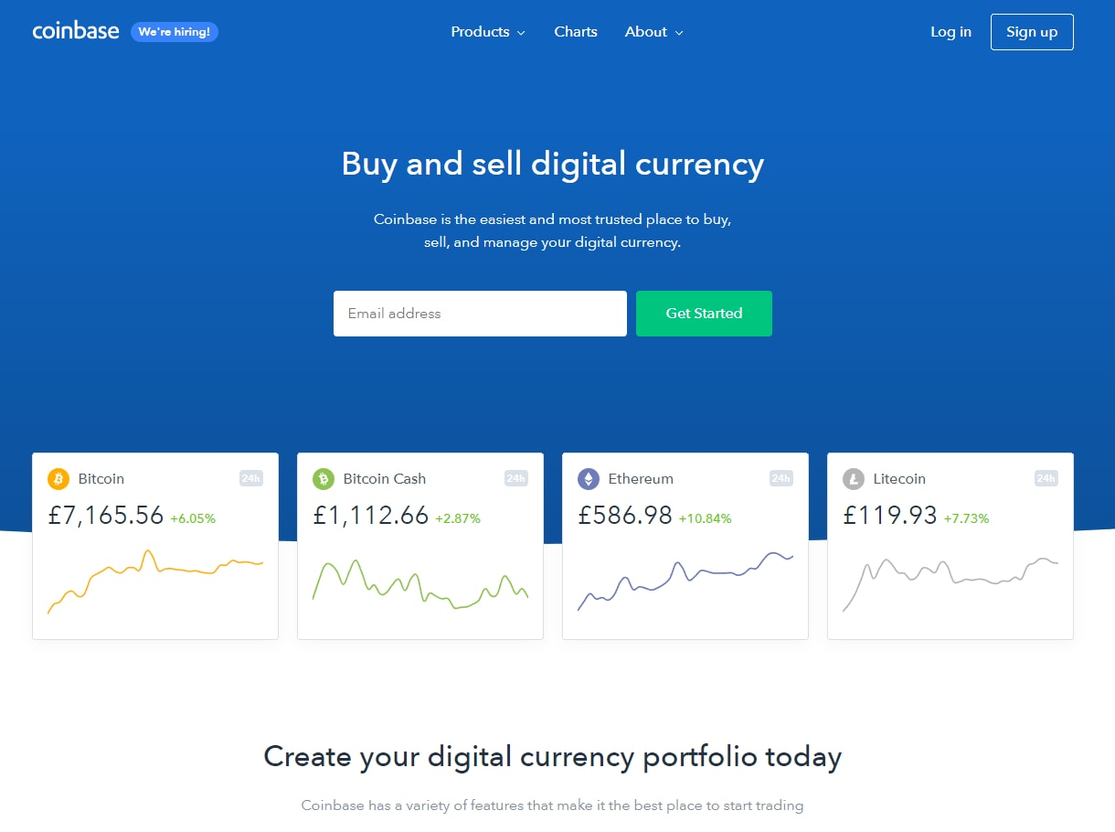 Coinbase websites' frontpage