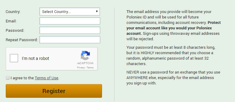 Poloniex Review Create Your Account