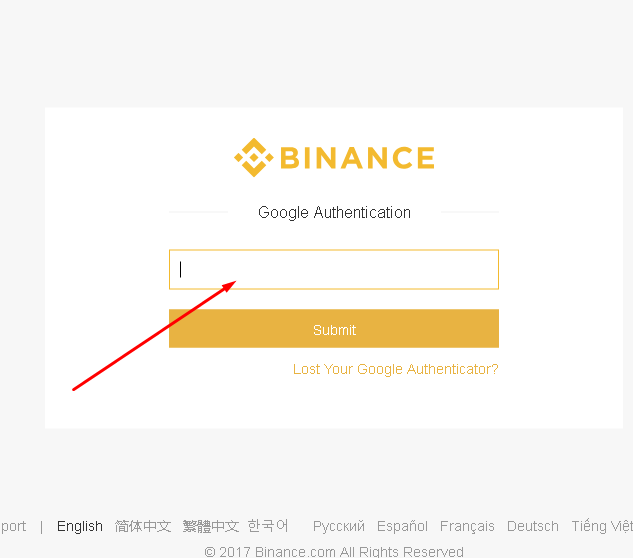 Google authentication on Binance cryptocurrency trading platform