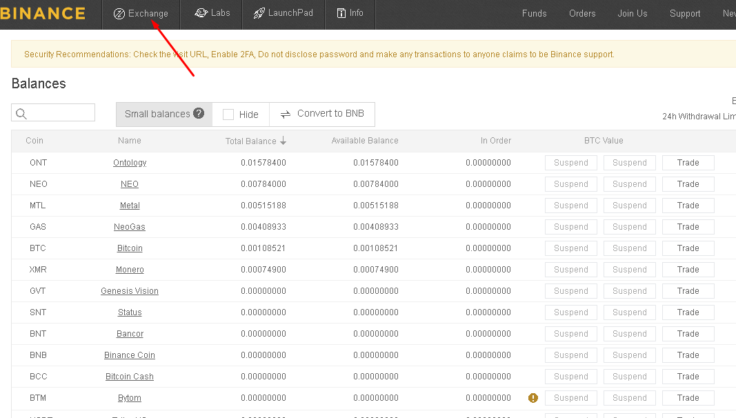 Binance cryptocurrency trading platform exchanges