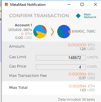 Metamask notification to confirm transaction