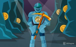 Knight with pickaxe ready for zcash mining