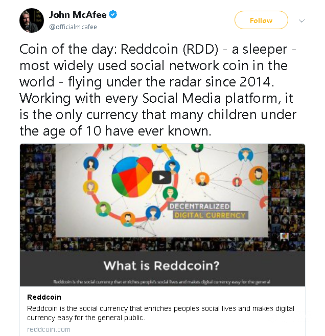 Jogn McAfee twitter Reddcoin Price Prediction