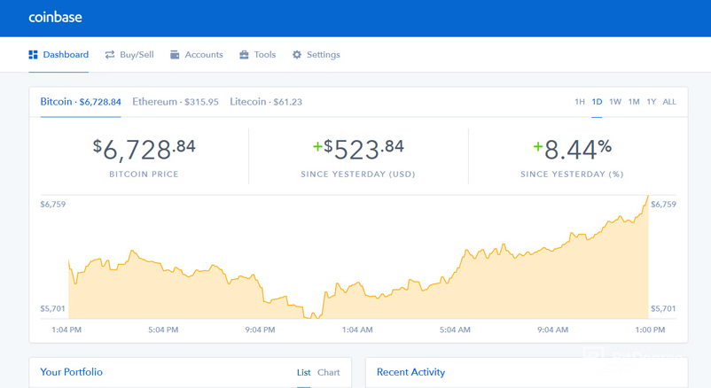 Binance vs Coinbase - Coinbase dashboard