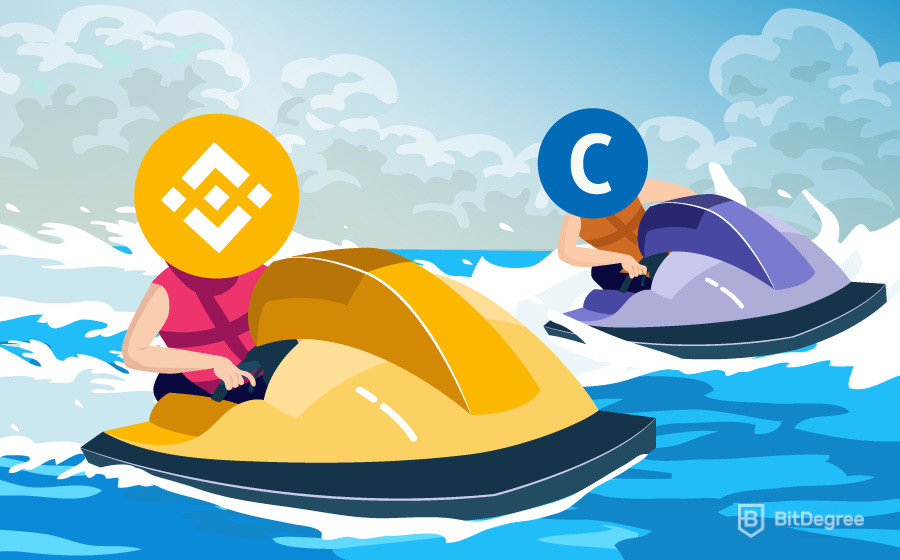 Jetski race between Binance vs Coinbase