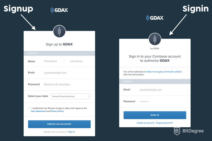 GDAX Review Signup Signin