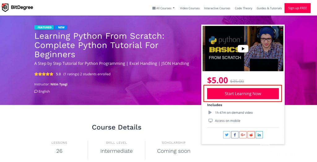 buy bdg course with eth - learning python from scratch