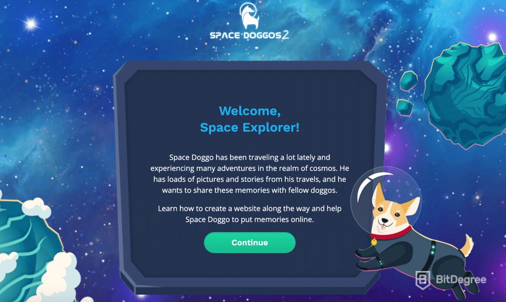 learn HTML and CSS with Space Doggos