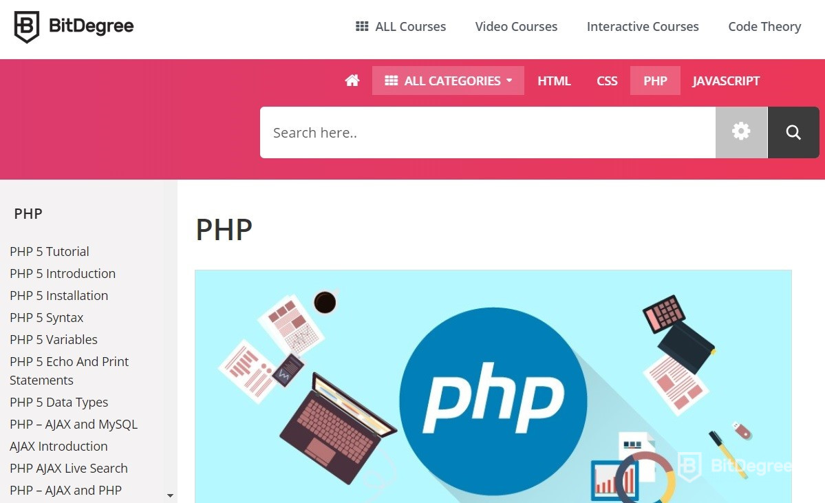 Learn PHP - BitDegree course