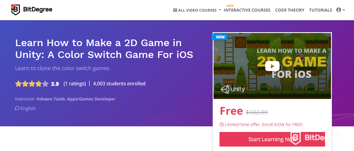 BitDegree course on how to make a video game