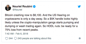 bitcoin crash - Nouriel Roubini twitter post