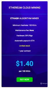 Ethereum cloud mining - ethash prices