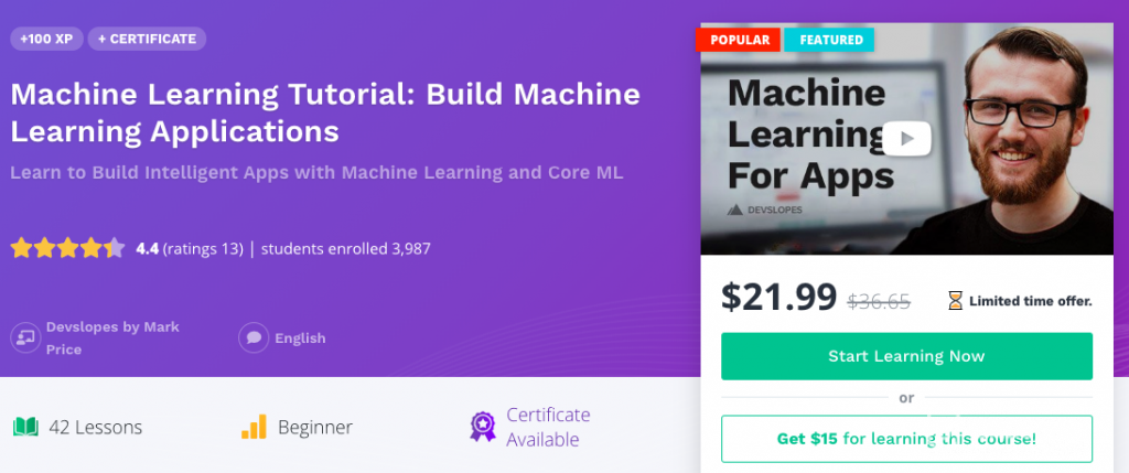 Online programming courses on ML