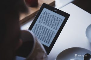 Reading a book on a Kindle