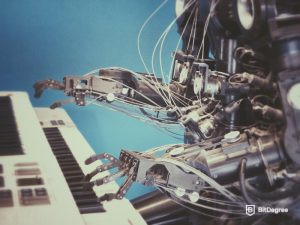 robotic arms playing piano